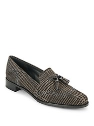 Stuart Weitzman Bloke Plaid Brogue Suede Loafers Smoke Plaid