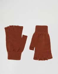 Asos Fingerless Gloves In Rust Rust Orange