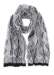 Mint Velvet Black And Cream Cable Scarf