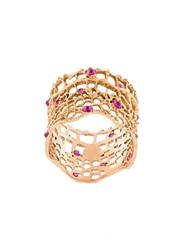 Aurelie Bidermann 'Vintage Lace' Ruby Ring Metallic