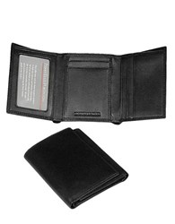 Perry Ellis Gramercy Soft Lambskin Trifold Wallet Black