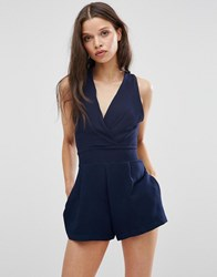 Love Playsuit With Pleated Bust Navy