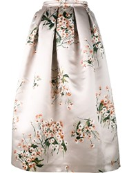 Rochas Floral Print Full Skirt Nude And Neutrals