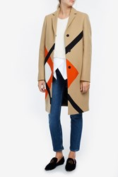Msgm Geometric Coat Beige