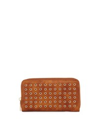 Neiman Marcus Grommet Leather Zip Around Wallet Cognac