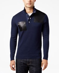Inc International Concepts Men's Faux Leather Trim Snap Sweater Only At Macy's Basic Navy