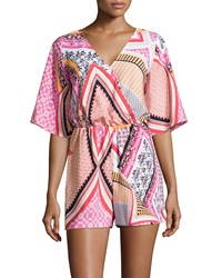 Muse Woven Mixed Print Romper Magenta Multicolor
