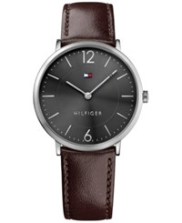 Tommy Hilfiger Men's Slim Sophisticated Sport Brown Leather Strap Watch 40Mm 1710352