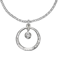 Dower And Hall Sterling Silver Open Circle Pendant White Topaz