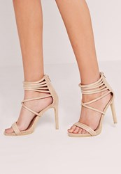 Missguided Strappy Cuff Heeled Sandals Nude Cream