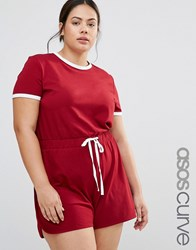 Asos Curve Casual Playsuit With Contrast Tipping Oxblood White Red
