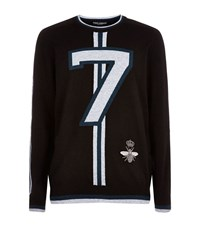 Dolce And Gabbana Bee Embellished Jumper Male Blue