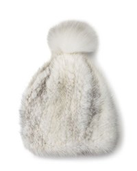 La Fiorentina Mink And Fox Fur Pompom Beanie Hat White
