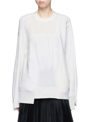 Sacai Wool Cashmere Patchwork Cotton Blend Sweatshirt Neutral