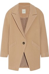 Mason By Michelle Mason Leather Trimmed Wool Blend Coat Nude