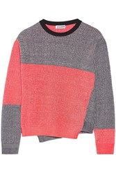 Jil Sander Color Block Melange Cotton Blend Sweater