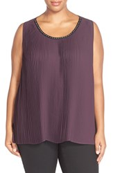 Plus Size Women's Melissa Mccarthy Seven7 Studded Neck Pleat Front Tank