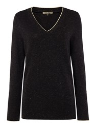 Biba V Neck Metallic Detail Jumper Black