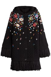 Red Valentino Embroidered Virgin Wool Cardigan Black