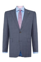 Chester Barrie Tailored Fit Suit Pale Blue Pow Check Light Blue