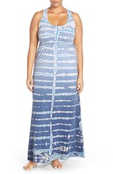 Plus Size Women's Hard Tail Surplice Side Tie Racerback Maxi Dress Blue Green