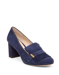 Vince Camuto Triss Block Heel Suede Loafer Pumps Navy Blue