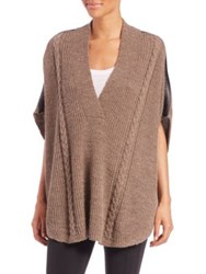 Splendid Sierra Cable Shawl Poncho Nutmeg Black