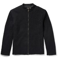 By Walid Crocheted Cotton Bomber Jacket Black