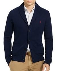 Polo Ralph Lauren Ribbed Cotton Shawl Collar Cardigan Sweater Cruise Navy