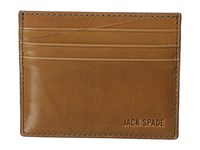 Jack Spade Mitchell Leather Six Card Holder Saddle Navy Wallet Brown