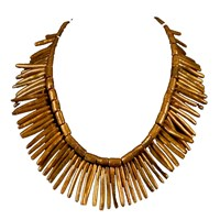 Brass Fusion Natural Gold Coral Stick Necklace