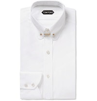 Tom Ford White Slim Fit Collar Bar Cotton Shirt