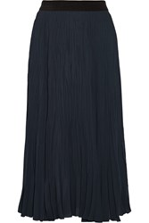 Elizabeth And James Braylon Pleated Chiffon Midi Skirt Blue