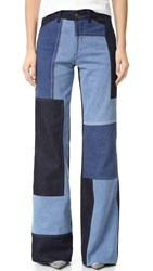 Victoria Beckham Wide Leg Jeans Blue Patch