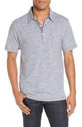 Faherty Men's Trim Fit Jersey Polo Grey Blue Stripe
