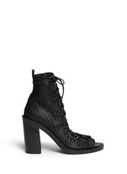 Ann Demeulemeester Basketweave Leather Lace Up Ankle Boots Black