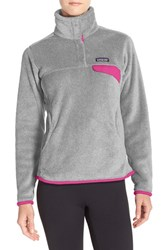 Patagonia Women's 'Re Tool' Snap Pullover Tailored Grey Shock Pink