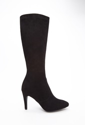Forever 21 Faux Suede Knee High Boots Wide Black