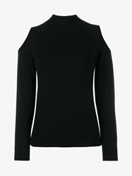 Osman Cutout Knit Long Sleeve Top Black Denim