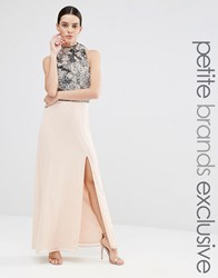 Maya Petite Heavily Embellished Bodice Maxi With High Neck And Thigh Split Detail Pink Navy