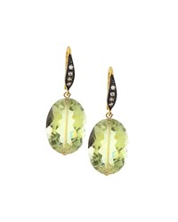 Green Amethyst And White Sapphire Drop Earrings Margo Morrison
