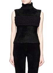 Xiao Li 'Lusso' Knotted Sleeveless Turtleneck Top Black