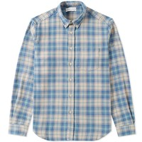 Tres Bien Button Down Heavy Flannel Shirt Green