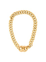 Chanel Vintage Cc Turnlock Choker Necklace Metallic