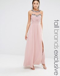 Little Mistress Tall Maxi Dress With Mesh And Embellishment Detail Mauve Pink