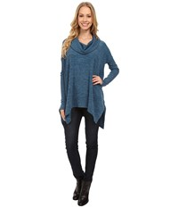 Mod O Doc Heather Sweater Long Sleeve Cowl Neck Pullover W Contrast Sleeve Baltic Women's Long Sleeve Pullover Blue
