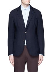 Lardini Reversible Wool Knit Blazer Blue