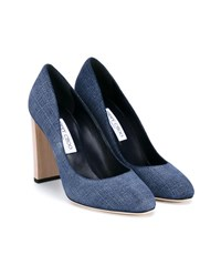 Jimmy Choo Laria Heeled Pumps Light Blue Denim Indigo White Black