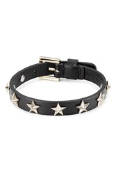 Red Valentino Star Studded Leather Bracelet Black