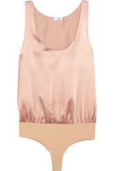 Alix Ella Silk Satin And Stretch Jersey Bodysuit Blush